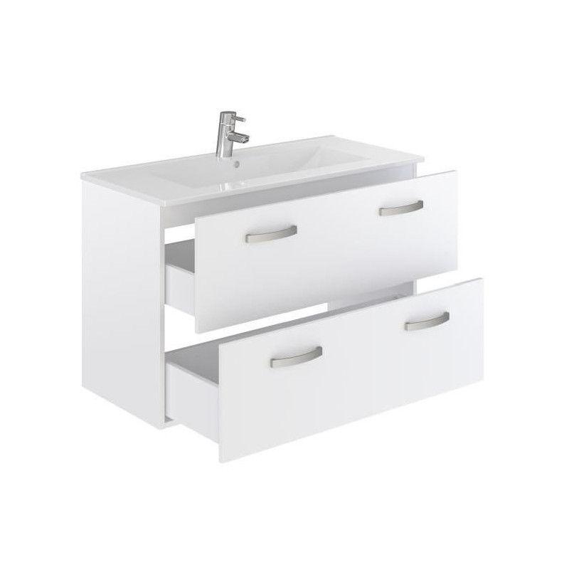 Stella ensemble salle de bain simple vasque avec miroir - Miroir salle de bain 100 cm ...