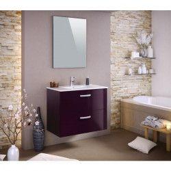 STELLA Ensemble salle de bain simple vasque avec miroir L 80 cm - Aubergine laqué brillant