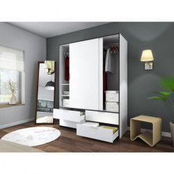 CAPRI Armoire de chambre style contemporain blanc et noir mat - L 140 cm