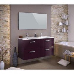 STELLA Ensemble salle de bain double vasque avec miroir L 120 cm - Aubergine laqué brillant