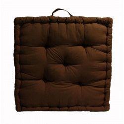 Coussin de sol Grand Format 100% Coton 60x60x15 cm CHOCOLAT