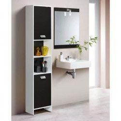 TOP Colonne de salle de bain L 40 cm - Blanc et noir mat
