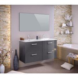 STELLA Ensemble salle de bain double vasque avec miroir L 120 cm - Gris laqué brillant