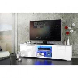 STUDIO Meuble TV avec LED contemporain blanc brillant - L 140 cm