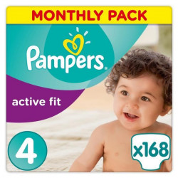 PAMPERS Active Fit Taille 4 - 8 a 16kg - 168 couches - Format pack 1 mois