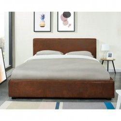 CLEVELAND Lit adulte 140 x 190 cm avec tete de lit capitonnée + sommier - Camel vintage