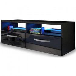 KOSMO 2 Meuble TV avec LED contemporain noir brillant - L 97 cm