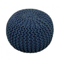 TODAY Pouf tricot Waby Sabi 100% coton ø45xH30 cm - Bleu