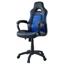 Chaise Gamer Baquet Sprint - Simili et PVC - Noir et bleu - L 68,5 x P 60 cm