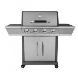 DUKE Barbecue a gaz 4 feux - Grille + plancha - Fonte et Inox - 79 x 46 cm