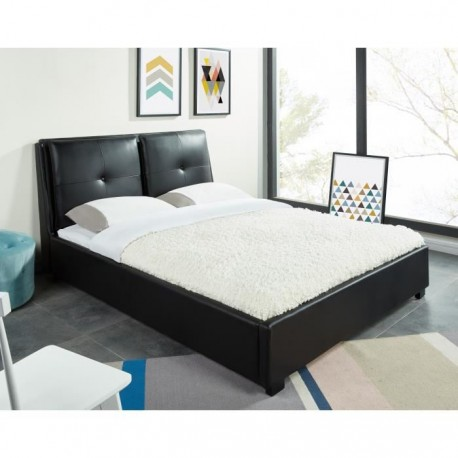 dublin lit adulte 140 x 190 cm avec tete de lit capitonn e sommier. Black Bedroom Furniture Sets. Home Design Ideas