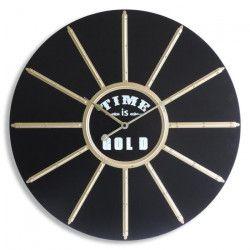 MUNDUS Horloge Helios en bois MDF - Ø 60 cm - Noir et blanc