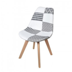 MARTINS Chaise en tissu patchwork gris et blanc + pieds en bois naturel - Scandinave - L 51 x P 57 cm