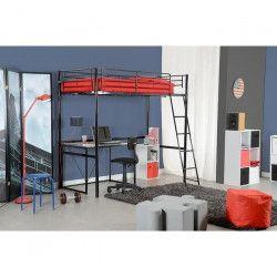 PLANET Lit mezzanine enfant contemporain en métal noir laqué - Sommier inclus - l 90 x L 190 cm