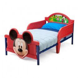 MICKEY - Lit Enfant Mickey 3D en métal - Rouge et Bleu - 70 x 140 cm