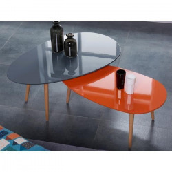 STONE Table basse ovale scandinave orange laqué - L 88 x l 48 cm