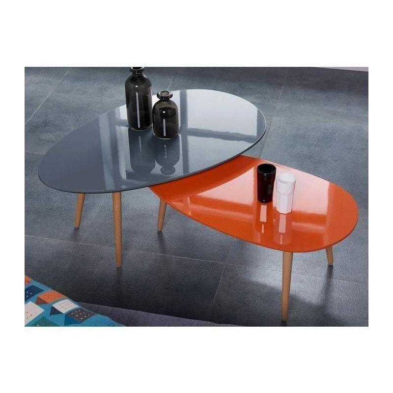 stone table basse ovale scandinave orange laqu l 88. Black Bedroom Furniture Sets. Home Design Ideas