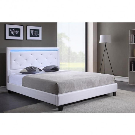 filip lit adulte contemporain simili blanc sommier et. Black Bedroom Furniture Sets. Home Design Ideas
