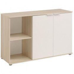 KEO Buffet bas décor acacia clair et blanc - L 120 cm