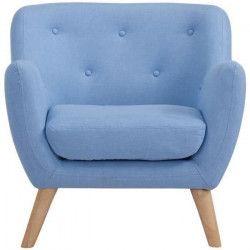 SCANDI Fauteuil scandinave en tissu chiné - Bleu - L 79 x P 82 cm