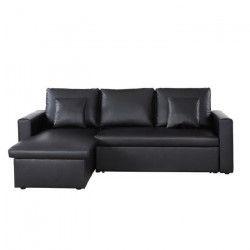 ASPEN Canapé d`angle réversible convertible 3 places - Simili noir - Contemporain - L 223 x P 150 cm