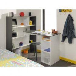 STANLEY Bureau d`angle contemporain blanc et gris ombré - L 91 cm