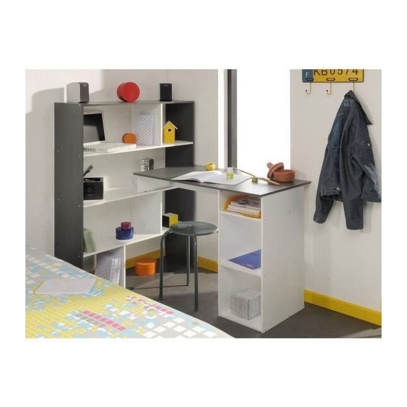 Stanley bureau d angle contemporain blanc et gris for Bureau blanc design contemporain