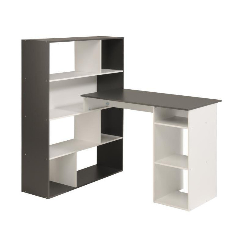 stanley bureau d angle contemporain blanc et gris. Black Bedroom Furniture Sets. Home Design Ideas