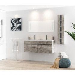 ALBAN Ensemble salle de bain double vasque avec miroir L 120 cm - Décor bois gris