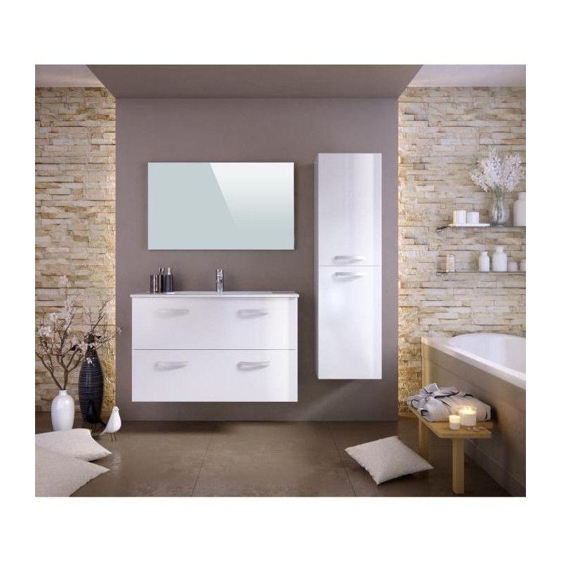 Stella ensemble salle de bain simple vasque avec miroir - Vasque salle de bain 100 cm ...