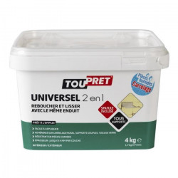 TOUPRET Enduit pâte Universel 2 en 1 avec spatule incluse 4 kg
