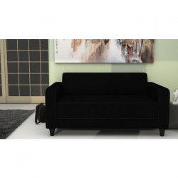 FINLANDEK Canapé droit fixe KULMA 2 places - Tissu noir - Contemporain - L 145 x P 79 cm