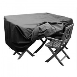 GREEN CLUB Housse de protection pour salon de jardin table + 4 chaises - 124x124x65 cm - Anthracite