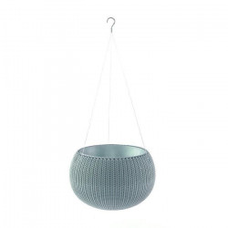 CURVER Pot de fleur avec suspensions - Aspect tricot - 28 cm - Bleu gris