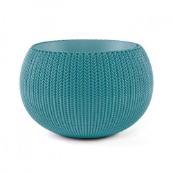 CURVER Pot de fleur - Aspect tricot - 36 cm - Bleu océan