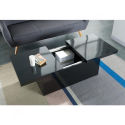 WONDERLAND Table basse extensible style contemporain noir brillant - L 110-142 x l 60 cm