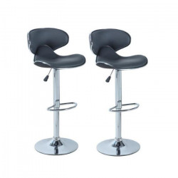 YORK Lot de 2 tabourets de bar réglables - Simili gris anthracite - Contemporain - L 51 x P 50 cm