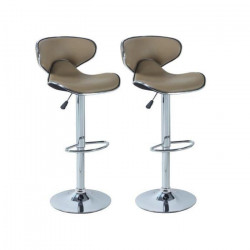 YORK Lot de 2 tabourets de bar réglables - Simili taupe - Contemporain - L 51 x P 50 cm