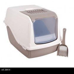 ARIEL Maison de toilette 57x39xH38 cm - Beige et taupe - Pour chat