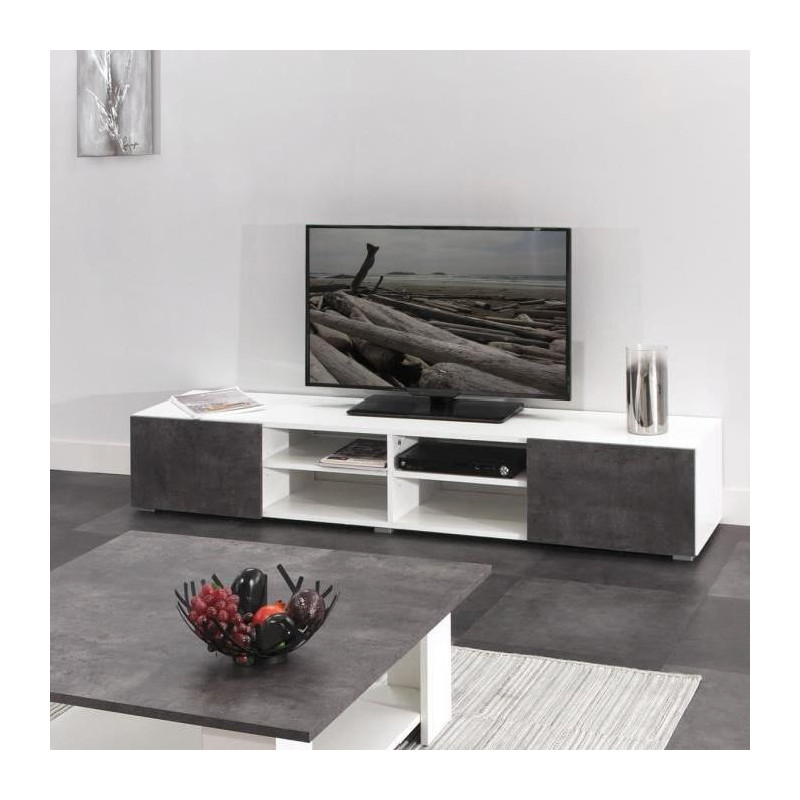 lime meuble tv contemporain blanc laqu et d cor. Black Bedroom Furniture Sets. Home Design Ideas