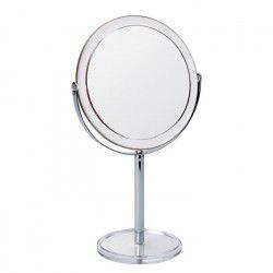 GERSON Miroir sur pied grossissant - Transparent et chromé - Ø 17 cm - H32 cm