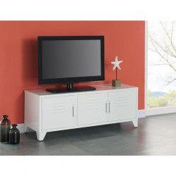CAMDEN Meuble TV industriel en métal blanc laqué - L 120 cm