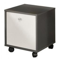 STANLEY Chevet sur roulettes contemporain blanc et gris ombre - L 31 cm