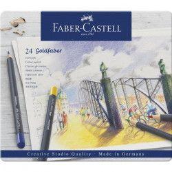 FABER-CASTELL Boîte de 24 Crayons de couleur Goldfaber permanent