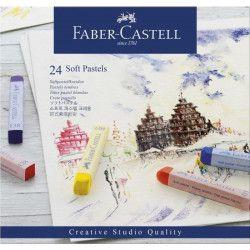 FABER-CASTELL Boîte 24 Pastels Carrés Tendres