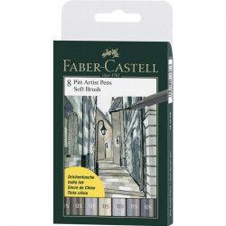 FABER-CASTELL Pochette de 8 feutres soft Brush