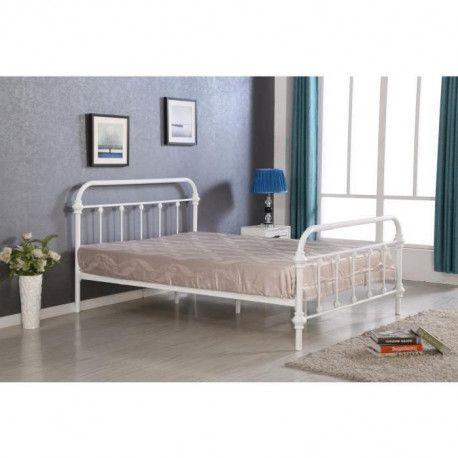 factory lit adulte contemporain en m tal blanc. Black Bedroom Furniture Sets. Home Design Ideas