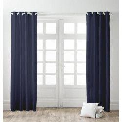 FINLANDEK Paire de rideaux a oeillets 100% coton Kauha 140x240 cm ciel d`orage