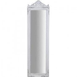 Miroir psyché moderne en bois - 140 x 40 x 3 cm - Finition blanc antique