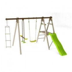 BALANCOIRE / PORTIQUE en bois H 1.90m TRIGANO - OREKA 3 agres / 4 enfants avec toboggan Trigano H 1,90 m